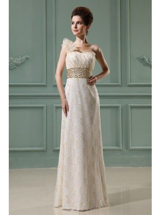 A-line One-shoulder Floor-length Lace Evening Dress With Beading