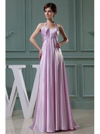 Empire Halter Floor-length Satin Evening Dress With Beading