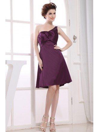 A-line One-shoulder Knee-length Satin Bridesmaid Dress