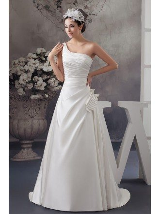 Ball-gown One-shoulder Sweep Train Satin Wedding Dress