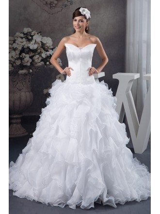 Ball-gown V-neck Cathedral Train Tulle Wedding Dress With Cascading Ruffle
