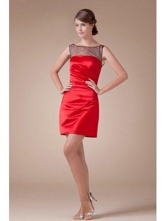 A-line Scoop Neck Short Satin Cocktail Dress