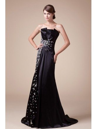 Mermaid Strapless Sweep Train Satin Evening Dress With Beading