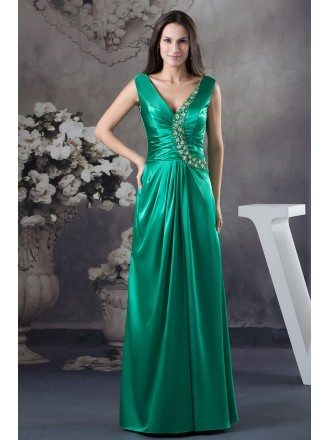 A-line V-neck Floor-length Satin Evening Dress With Beading