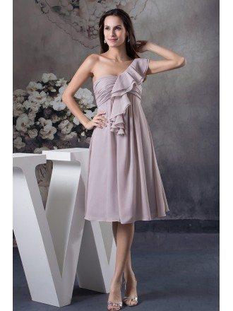 A-line One-shoulder Knee-length Chiffon Bridesmaid Dress