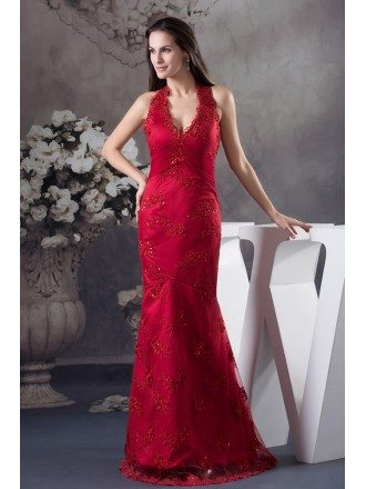 A-line Halter Floor-length Satin Lace Evening Dress