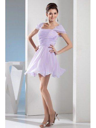 A-line Strapless Short Chiffon Bridesmaid Dress