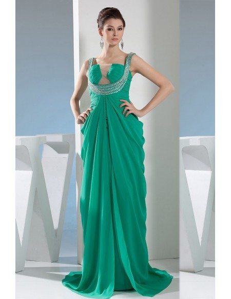 Ball-gown Strapless Floor-length Chiffon Prom Dress With Beading