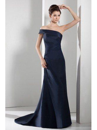 A-line One-shoulder Sweep Train Satin Evening Dress