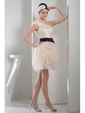 A-line One-shoulder Short Satin Prom Dress
