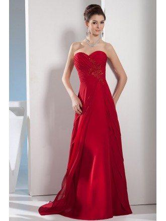 A-line Sweetheart Sweep Train Satin Chiffon Evening Dress