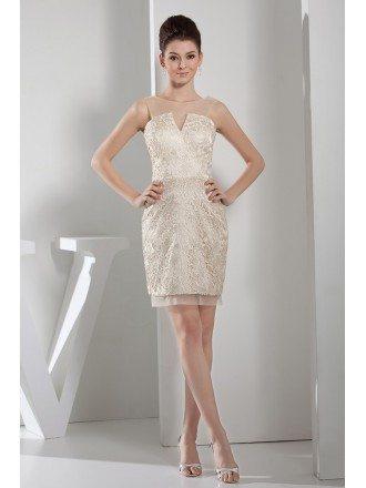 Sheath High-neck Short Lace Cocktail Dress