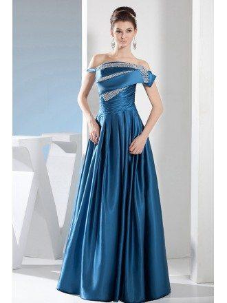A-line One-shoulder Floor-length Satin Evening Dress