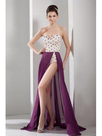 A-line Sweetheart Floor-length Chiffon Prom Dress With Split