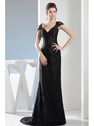 Sheath V-neck Sweep Train Lace Evening Dress With Beading