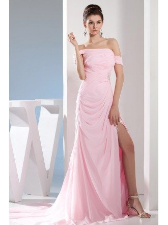 Mermaid Off-the-shoulder Sweep Train Chiffon Evening Dress
