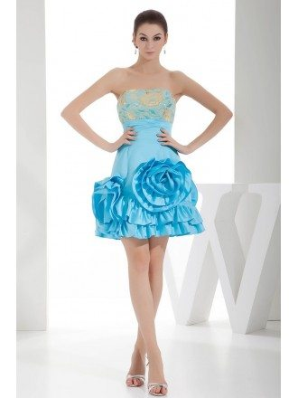 A-line Strapless Short Satin Prom Dress With Embroidery