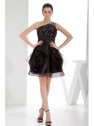 Ball-gown One-shoulder Short Tulle Prom Dress With Beading
