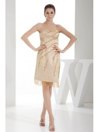 A-line Sweetheart Knee-length Satin Cocktail Dress With Beading