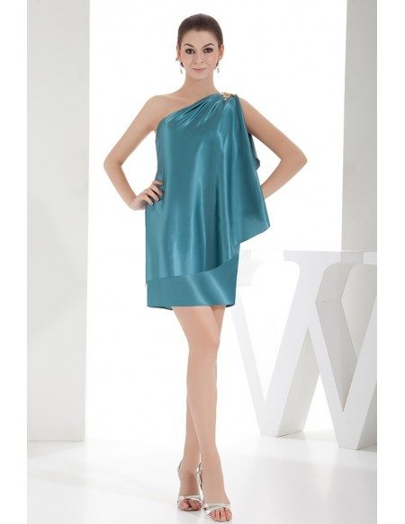 Sheath One-shoulder Short Satin Cocktail Dress