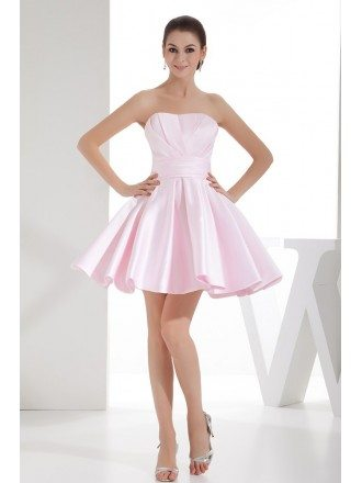 A-line Strapless Short Satin Homecoming Dress