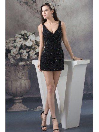 Sheath V-neck Mini Sequined Cocktail Dress