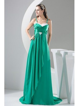 A-line Sweetheart Sweep Train Chiffon Satin Prom Dress