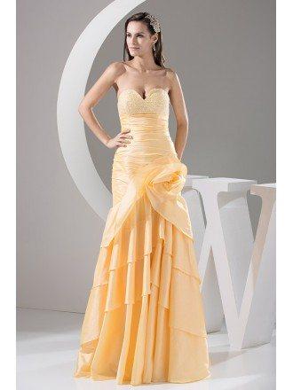Mermaid Sweetheart Floor-length Satin Prom Dress With Beading