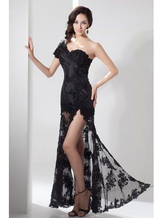 A-line One-shoulder Floor-length Lace Evening Dress With Split