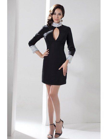 Sheath High Neck Short Satin Dress With Beading