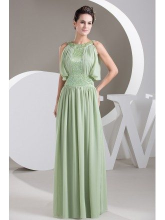 A-line High Neck Floor-length Chiffon Prom Dress With Beading