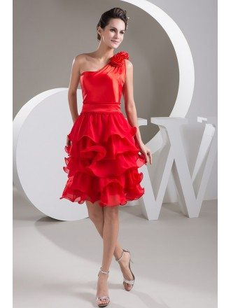 A-line One-shoulder Short Chiffon Prom Dress With Ruffle