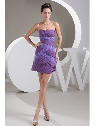 Sheath Sweetheart Short Lace Chiffon Bridesmaid Dress