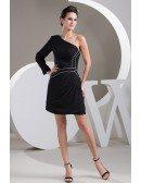 A-line One-shoulder Short Satin Dress