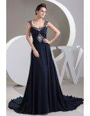 A-line Sweetheart Court Train Chiffon Evening Dress With Beading