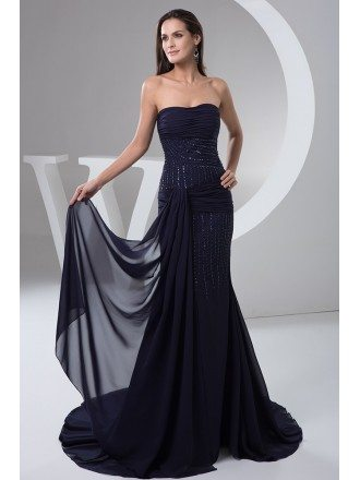 Mermaid Strapless Sweep Train Chiffon Evening Dress With Beading