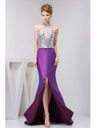 Mermaid Halter Sweep Train Satin Prom Dress With Sequins