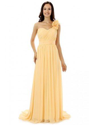 Sheath Sweetheart One-shoulder Court-train Bridesmaid Dress