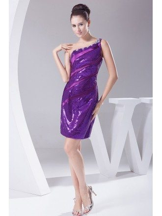 Sparkly Sequins Beaded One Strap Sheath Party Dress