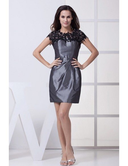 Lace Top Grey Taffeta Short Formal Dress with Sleeves