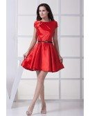 Red Satin Short Formal Dress with Cap Sleeves Sash
