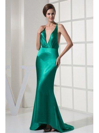 Sexy Deep V-neck Sleek Teal Green Evening Dress Open Back