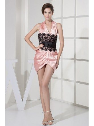 Pink and Black Lace Halter Satin Bridal Party Dress Open Back