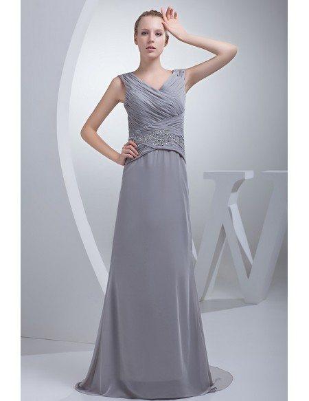 Silver Cross Pleated Long Chiffon Bridesmaid Dress