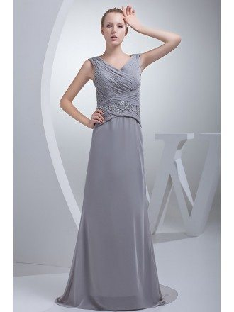 Silver Cross Pleated Long Chiffon Bridesmaid Dress