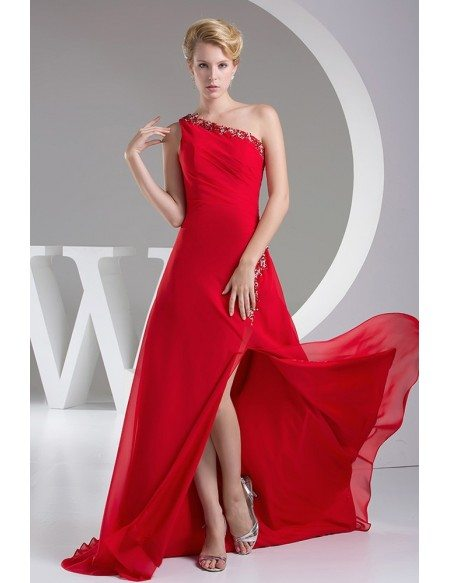 Beaded One Strap Hot Red Split Front Prom Dress