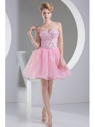 Pink Puffy Organza Short Beaded Prom Dress Sweetheart
