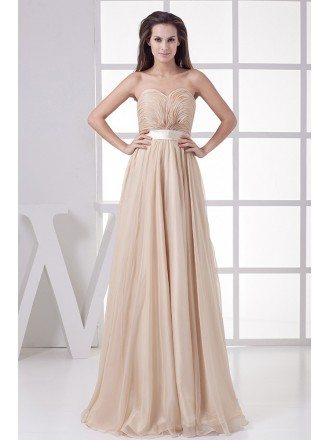 Empire Waist Sweetheart Long Formal Dress Backless