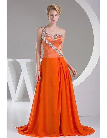 Beaded One Shoulder Orange Long Train Prom Dress
