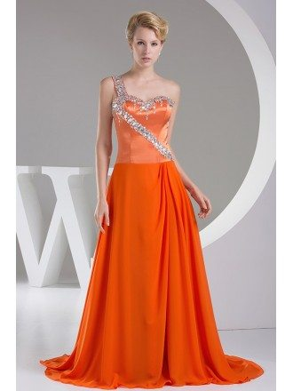 Beaded One Shoulder Orange Long Train Prom Dress